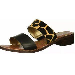 Sam Edelman Jeni giraffe print calf fur sandals
